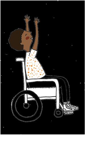 Ilustração de uma criança negra em uma cadeira de rodas, sorrindo e jogando os braços para cima.