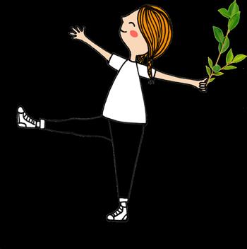 Ilustração de uma criança brincando com um ramo de folhas na mão.