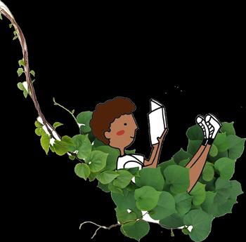 Ilustração de uma criança deitada em folhagens, lendo um livro.