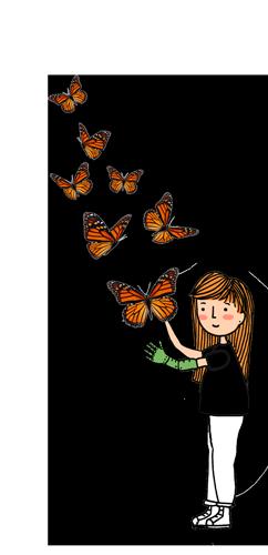 Ilustração de uma criança com cabelos ruivos e um braço mecânico interagindo com borboletas laranjas.