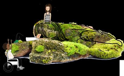 Pedra com musgo, com traços desenhados sobre ela, que a transformam em uma mulher, simbolizando a mãe natureza. A sua volta, ilustrações de crianças, uma delas cadeirante, brincando e cuidando da pedra.