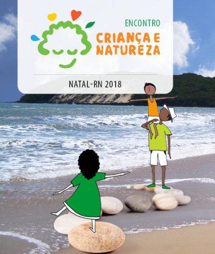 Arte do Encontro Criança e Natureza Natal - 2018, com uma foto da praia de Ponta Negra e um conjunto de ilustrações de pessoas brincando sobre pedras.