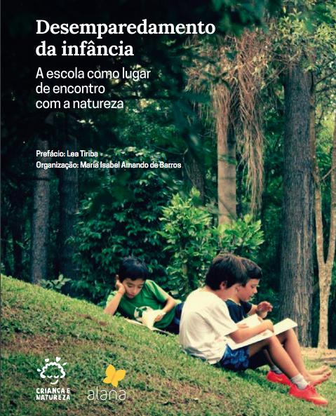 Crianças lendo em um gramado ao ar livre. No canto superior esquerdo está escrito: Desemparedamento da infância: A escola como lugar de encontro com a natureza.