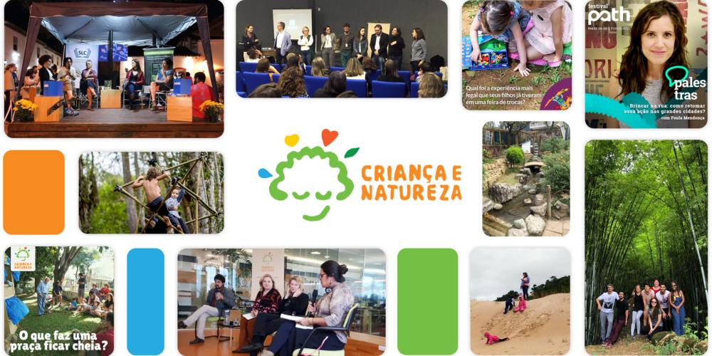 Montagem com algumas fotos de palestras e ações do Criança e Natureza, com a logo do programa no centro.