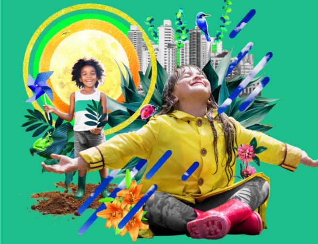 Arte de fundo verde. Ao fundo uma fotomontagem de um garoto negro pisando na terra com galochas verdes, segurando um catavento em uma mão e um ramo de árvore na outra. Do lado esquerdo e em destaque, vemos uma fotomontagem composta por uma garota branca sentada vestindo uma capa de chuva com a cidade ao fundo.