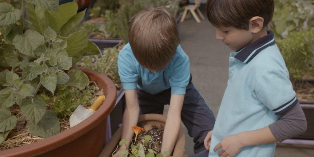 Duas crianças plantam juntas, em vasos de barro.