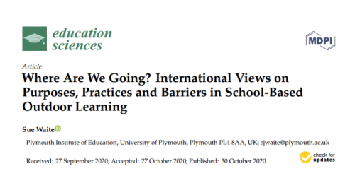 Imagem de fundo branco. Em destaque está escrito: Where Are We Going? International Views on Purposes, Practices and Barriers in School-Based Outdoor Learning. No canto superior esquerdo ao lado do desenho de um capelo, lê-se: education science