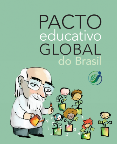 """Ilustração de um adulto de cabelos e barba grisalhas, regando vasos de flores que possuem o rosto de crianças. Em destaque está escrito: """"Pacto educativo global do Brasil""""."""