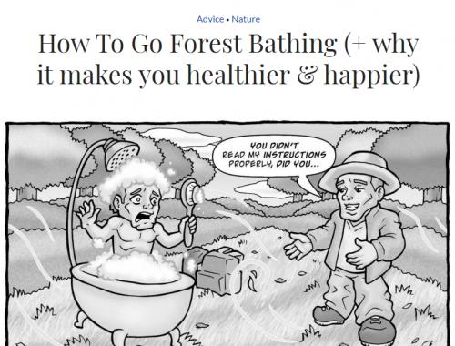 Desenho em preto e branco de de dois homens conversando em um ambiente aberto e com muitas árvores. Um deles está dentro de uma banheira com espuma.
