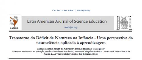 Imagem com informações básicas do estudo Transtorno do Déficit de Natureza na Infância - Uma perspectiva da neurociência aplicada à aprendizagem. Em destaque o nome da associação Latin American Journal of Science Education.
