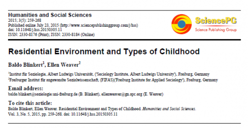 Página com informações básicas da pesquisa, incluindo o título: Residential Environment and Types of Childhood. No canto superior direito o logotipo da Science Publishing Group.