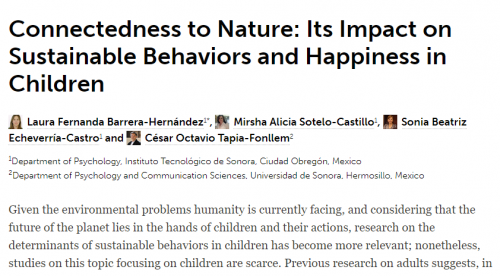 Página branca com o seguinte título em destaque: Connectedness to Nature: Its Impact on Sustainable Behaviors and Happiness in Children